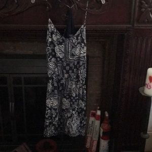 Cute summer navy blue dress with white pattern